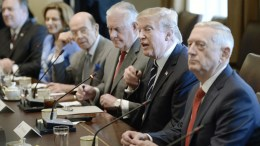 US President Donald J. Trump (2nd R) flanked by Secretary of State Rex Tillerson (3rd R) and Defense Secretary Jim Mattis (R) in the Cabinet Room of White House in Washington, DC, USA. EPA, Olivier Douliery / POOL