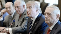 FILE PHOTO. US President Donald J. Trump (2nd R) flanked by Secretary of State Rex Tillerson (3rd R) and Defense Secretary Jim Mattis (R) in the Cabinet Room of White House in Washington, DC, USA. EPA, Olivier Douliery / POOL