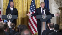 File Photo: US President Donald J. Trump (R) and NATO Secretary General Jens Stoltenberg (L) participate in a joint press conference in the East Room of the White House in Washington, DC, USA EPA, SHAWN THEW