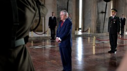 File Photo: US Secretary of State Rex Tillerson (C) attends a wreath laying ceremony at the Ataturk Mausoleum, founder of modern Turkey, in Ankara, Turkey, 30 March 2017. STR