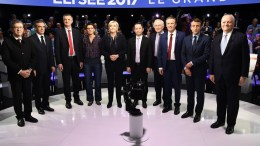 Ten of eleven French presidential election candidates: (L-R) far-left coalition La France insoumise (Unsubmissive France) Jean-Luc Melenchon; right-wing Les Republicains (LR) party Francois Fillon; lawmaker and independent candidate for France's 2017 presidential elections Jean Lassalle; far-left Lutte Ouvriere (LO) party Nathalie Arthaud, far-right National Front (FN) party Marine Le Pen; left-wing French Socialist (PS) party Benoit Hamon; Solidarite et Progres (Solidarity and Progress) party Jacques Cheminade; right-wing Debout la France (DLF) party Nicolas Dupont-Aignan; En Marche! (Forward!) movement Emmanuel Macron and Popular Republican Union (UPR) party Francois Asselineau pose for a family picture prior to a debate organized by French private TV channels BFM TV and CNews, between the eleven candidates for the French presidential election, in La Plaine-Saint-Denis, France. French presidential election candidate for the far-left New Anticapitalist Party (NPA) Philippe Poutou refused to take part in the family picture. EPA, LIONEL BONAVENTURE, POOL MAXPPP OUT