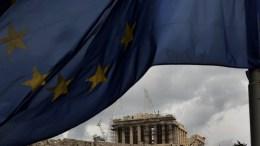 FILE PHOTO. The flag of European Union waves in front of the Parthenon Temple on Acropolis Hill in Athens. EPA/SIMELA PANTZARTZI