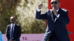 Turkish President Recep Tayyip Erdogan speaks during a 'Vote Yes' rally  in Ankara, Turkey. EPA/TUMAY BERKIN