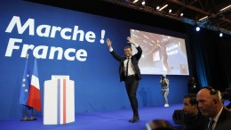 French presidential election candidate for the 'En Marche!' (Onwards!) political movement, Emmanuel Macron celebrates after the first round of the French presidential elections in Paris, France. Media reports that polling agencies projections place Le-Pen and centrist presidential candidate Emmanuel Macron in the lead positions for the vote. France will hold the second round of the presidential elections on 07 May 2017. EPA/YOAN VALAT