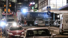 FILE PHOTO. Tow trucks move the beer truck that crashed into the Ahlens department store after plowing down Drottninggatan Street in central Stockholm, Sweden, 07 April 2017. Four people were killed and 15 injured in the suspected terror attack. EPA/FREDRIK SANDBERG SWEDEN OUT