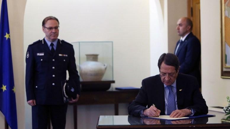 Ο Πρόεδρος της Δημοκρατίας κ. Νίκος Αναστασιάδης παρίσταται στην τελετή διαβεβαίωσης του νέου Υπαρχηγού Αστυνομίας κ. Κύπρου Μιχαηλίδη, Λευκωσία 16 Μαΐου 2017. ΚΥΠΕ, ΚΑΤΙΑ ΧΡΙΣΤΟΔΟΥΛΟΥ