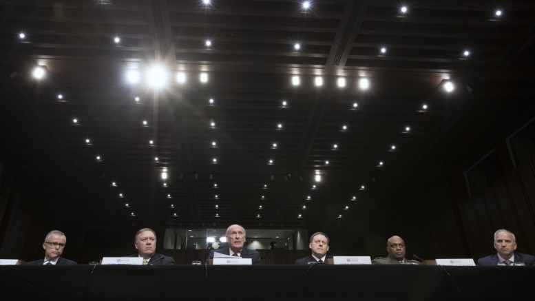 File Photo: Intelligence leaders appear before the Senate Select Committee on Intelligence hearing on 'World Wide Threats', on Capitol Hill in Washington, DC. In this picture  (L to R); Acting FBI Director Andrew McCabe, CIA Director Mike Pompeo, Director of National Intelligence Daniel Coats, National Security Agency Director Admiral Mike Rogers, Defense Intelligence Agency Director Lieutenant General Vincent Stewart and National Geospatial-Intelligence Agency Director Robert Cardillo. EPA, MICHAEL REYNOLDS