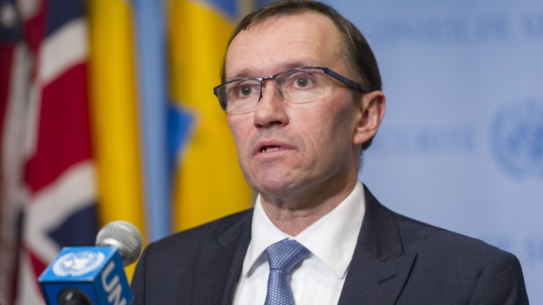 File Photo: Espen Barth Eide, Special Adviser to the Secretary-General on Cyprus, speaks to journalists following Security Council consultations on Cyprus and the United Nations Peacekeeping Force in Cyprus (UNFICYP). UN Photo, Rick Bajornas