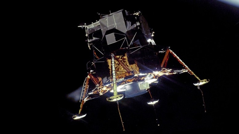 An undated handout image made available by NASA shows the Apollo 11 Lunar Module Eagle, in a landing configuration, photographed in lunar orbit from the Command and Service Module Columbia. EPA/NASA / HANDOUT HANDOUT EDITORIAL USE ONLY