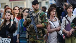 A soldier guards a rally against a NATO summit in Brussels, Belgium, 24 May 2017. NATO member countries' heads of states and governments gather in Brussels on 25 May 2017 for a one-day meeting. EPA, ARMANDO BABANI