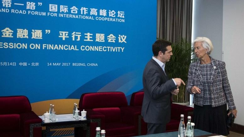 Ο πρωθυπουργός Αλέξης Τσίπρας συνομιλεί με την γενική διευθύντρια του Διεθνούς Νομισματικού Ταμείου Κριστίν Λαγκάρντ, στο περιθώριο του Belt and Road Forum, στο Πεκίνο, την Κυριακή 14 Μαΐου 2017. ΑΠΕ-ΜΠΕ, ΓΡΑΦΕΙΟ ΤΥΠΟΥ ΠΡΩΘΥΠΟΥΡΓΟΥ, Andrea Bonetti
