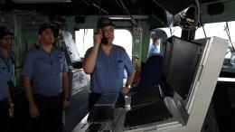 Commander of Turkish Naval Forces Admiral Bülent BOSTANOĞLU visited Turkish frigate TCG GAZİANTEP in April. TCG GAZİANTEP was deployed in Eastern Mediterranean as part of Operation MEDITERRANEAN SHIELD. Admiral Veysel KÖSELE, Fleet Commander, also accompanied Admiral BOSTANOĞLU on board TCG GAZİANTEP. Admiral BOSTANOĞLU had an opportunity to closely monitor BARBAROS HAYRETTİN PAŞA, Turkey's seismographic research vessel off Cyprus. Photo via Turkish Navy