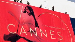 Workers set up the official poster of the 70th annual Cannes Film Festival on the Palais des Festivals facade, in Cannes, France, 15 May 2017. The poster displays a photogram of Italian actress Claudia Cardinale. The film festival will run from 17 to 28 May.  EPA/SEBASTIEN NOGIER