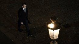 French president-elect Emmanuel Macron arrives to deliver a speech at the Pyramid at the Louvre Museum in Paris, France, 07 May 2017, after the second round of the French presidential election. Emmanuel Macron was elected French president on 07 May 2017 in a resounding victory over far-right Front National (FN - National Front) rival after a deeply divisive campaign, initial estimates showed.  EPA/PHILIPPE LOPEZ / POOL MAXPPP OUT