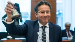 FILE PHOTO. Dutch Finance Minister and President of Eurogroup Jeroen Dijsselbloem rings the bell prior to the start of a Eurogroup Finance Ministers' meeting at the EU Council, in Brussels, Belgium. EPA, STEPHANIE LECOCQ