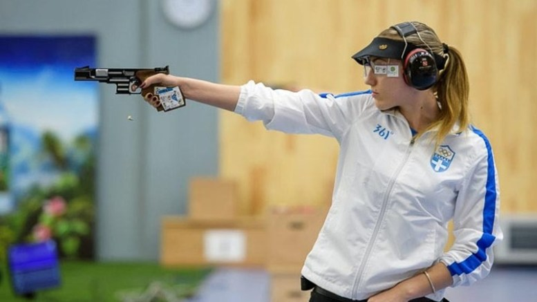 BAKU - JUNE 25: Silver medalist Anna KORAKAKI of Greece competes in the 25m Pistol Women Finals at the Baku Olympic Shooting Range during Day 4 of the ISSF World Cup Rifle/Pistol/Shotgun on June 25, 2016 in Baku, Azerbaijan. (Photo by Nicolo Zangirolami)