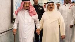 FILE PHOTO. Saudi Arabia's King Salman bin Abdulaziz al-Saud (R) and King of Bahrain, Hamad bin Isa Al Khalifa (L) meeting in Jeddah, Saudi Arabia, 07 June 2017. EPA, SPA, HANDOUT, EDITORIAL USE ONLY