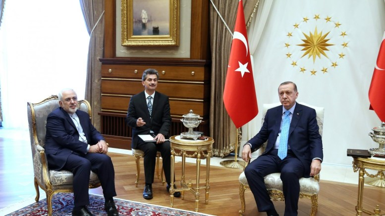 A handout photo made available by Turkish President Press office shows Iranian Foreign Minister Mohammad Javad Zarif (L), meeting with Turkish President Recep Tayyip Erdogan (R) in Ankara, Turkey. EPA, TURKISH PRESIDENT PRESS OFFICE HANDOUT, EDITORIAL USE ONLY