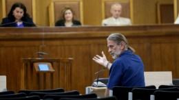Ο Μάριος Λώλος εξετάζεται ως μαρτυρας στην δίκη της «Χρυσής Αυγής» , Παρασκευή 30 Ιουνίου 2017. Συνεχίζεται στις γυναίκειες φυλακές Κορυδαλλού με την εξέταση μαρτύρων η δίκη της Χρυσης Αυγής. ΑΠΕ-ΜΠΕ/Παντελής Σαίτας