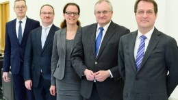 The members of the German Council of Economic Experts, including from L-R Peter Bofinger, Lars Feld, Isabel Schnabel, Christoph Schmidt and Volker Wieland, pose at a press conference. FILE PHOTO. EPA/ARNE DEDERT