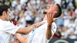 Germany's Sandro Wagner (R) celebrates scoring the 2-0 lead during the FIFA World Cup 2018 qualifying soccer match between Germany and San Marino in Nuremberg, Germany, 10 June 2017.  EPA, ARMANDO BABANI