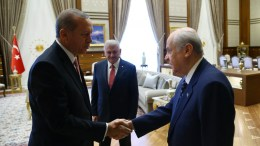 FILE PHOTO. Turkish President Recep Tayyip Erdogan (L), meets with Devlet Bahceli (R), leader of opposition Nationalist Movement Party (MHP) in Ankara, Turkey. EPA, TURKISH PRESIDENTAL PRESS OFFICE HANDOUT, EDITORIAL USE ONLY