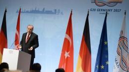 File Photo: Turkish President Recep Tayyip Erdogan speaks at the closing press conference of the G-20 summit in Hamburg, Germany, 08 July 2017. EPA, DANIEL KOPATSCH