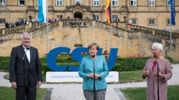 File Photo: Gerda Hasselfeldt, chairwoman of the Christian Social Union (CSU) party parliamentary group, German chancellor Angela Merkel and Bavarian State Prime Minister Horst Seehofer address the media during the CSU party meeting at the Banz monastery near Bad Staffelstein, Germany. EPA, LENNART PREISS