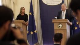 FILE PHOTO: Ο υπουργός Εξωτερικών Νίκος Κοτζιάς και η Ύπατη Εκπρόσωπος της Ένωσης για θέματα εξωτερικής πολιτικής & πολιτικής ασφάλειας και Αντιπρόεδρος της Ευρωπαϊκής Επιτροπής, Φεντερίκα Μογκερίνι, στο υπουργείο Εξωτερικών, Παρασκευή 21 Ιουλίου 2017. ΑΠΕ-ΜΠΕ, Αλέξανδρος Μπελτές