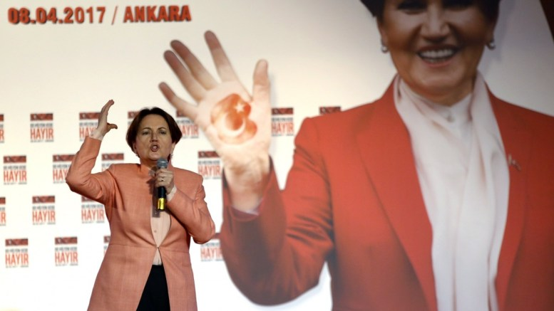 FILE PHOTO. Meral Aksener, the dissident of Turkey's opposition Nationalist Movement Party (MHP), speaks. EPA, TUMAY BERKIN