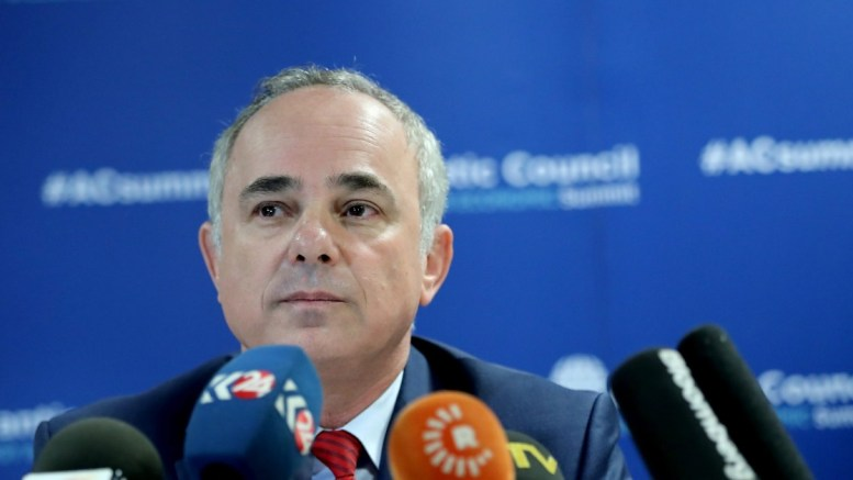 Israeli Energy Minister Yuval Steinitz speaks at a press conference at the 23rd World Energy Congress, in Istanbul. EPA, SEDAT SUNA