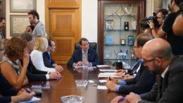 Στιγμιότυπο από τη συνάντηση του Προέδρου της Κυπριακής Δημοκρατίας, Νίκου Αναστασιάδη, με τον ειδικό σύμβουλο του γενικού γραμματέα του ΟΗΕ για το Κυπριακό, Έσπεν Μπαρθ Άιντα. Φωτογραφία: ΚΥΠΕ