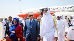 FILE PHOTO. A handout photo made available by Turkish Presidental Press Office shows Emir of Qatar Sheikh Tamim bin Hamad al-Thani (L) welcomes Turkish President Recep Tayyip Erdogan (C) and his wife Emine Erdogan (L). EPA, TURKISH PRESIDENTAL PRESS OFFICE HANDOUT, EDITORIAL USE ONLY