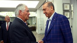 FILE PHOTO. A handout photo made available by the Turkish President Press office shows, Turkish President Recep Tayyip Erdogan shaking hands with US Secretary of State Rex Tillerson during their meeting in Istanbul. EPA/TURKISH PRESIDENT PRESS OFFICE HANDOUT HANDOUT EDITORIAL USE ONLY/NO SALES