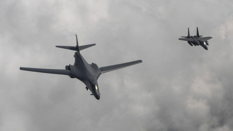 FILE PHOTO. A handout photo made available by the South Korean Air Force shows a US B1-B bomber (L) escorted by a South Korean F-15K fighter (R) as they fly over South Korea. EPA/SOUTH KOREAN AIR FORCE HANDOUT SOUTH KOREA OUT HANDOUT EDITORIAL USE ONLY/NO SALES