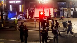 Image of the van used in the attack at the Ramblas in Barcelona, Spain, 17 August 2017. At least 13 people have died and 80 were injured when a van crashed into pedestrians in Las Ramblas, downtown Barcelona in an incident which Spanish police are treating as a terror attack. EPA, Quique Garcνa FACES PIXELATED BY SOURCE DUE TO SPANISH LAW
