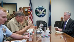 A handout photo made available on 11 August 2017 by the US Deprtment of Defense (DOD) showing US Secretary of Defense Jim Mattis meeting with military leaders from Commander, Submarine Group 9 in Bangor, Washington State, USA, 09 August 2017. Media reports on 11 August 2017 state that Jim Mattis has attempted to defuse tensions between the USA and North Korea by emphasising a peaceful resolution to the crisis. Mattis said it was his job as defence secretary to be ready for conflict but the effort by Secretary of State Rex Tillerson and UN Ambassador Nikki Haley 'has diplomatic traction, it is gaining diplomatic results'. EPA, JETTE CARR STAFF SGT. USAF / US DEPARTMENT OF DEFENSE HANDOUT, EDITORIAL USE ONLY