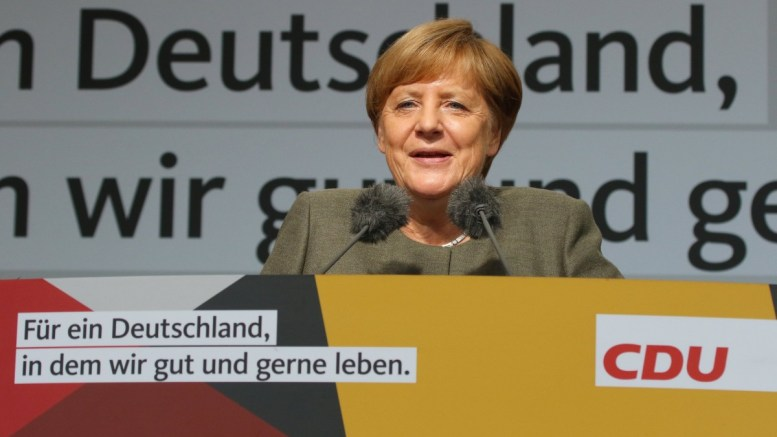 Germany's conservative Christian Democratic Union (CDU) party chairwoman and German Chancellor Angela Merkel gestures while speaking at a CDU election campaign event in Steinhude, Germany, 18 August 2017. EPA, FOCKE STRANGMANN