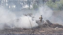 Η φωτιά βρίσκεται σε ύφεση, χωρίς κανένα ενεργό μέτωπο, ενώ στην περιοχή εξακολουθούν να παραμένουν οι πυροσβεστικές δυνάμεις. Φωτογραφία: Πρώτο Θέμα.