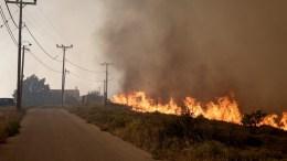 Πυρκαγιά είναι σε εξέλιξη στην ευρύτερη περιοχή του Καλάμου και κατευθύνεται προς το Βαρνάβα, το Καπανδρίτι και το Σέσι Γραμματικού. ΑΠΕ-ΜΠΕ/ΣΥΜΕΛΑ ΠΑΝΤΖΑΡΤΖΗ.
