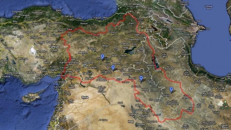 Ο χάρτης του Κουρδιστάν