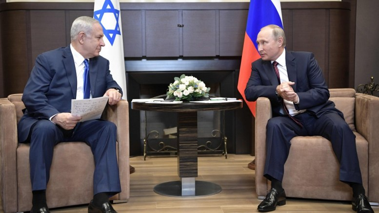 FILE PHOTO. Russian President Vladimir Putin (R) and Israeli Prime Minister Benjamin Netanyahu (L) meet in the Black Sea resort of Sochi, Russia, 23 August 2017. Benjamin Netanyahu is on a working visit to Russia. EPA/ALEXEY NIKOLSKY / SPUTNIK / KREMLIN POOL MANDATORY CREDIT