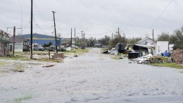 FILE PHOTO. A flooded street is seen in the aftermath of Hurricane Harvey in Rockport, Texas, USA, 26 August 2017. Hurricane Harvey made landfall on the south coast of Texas as a major hurricane category 4, and was the worst storm to hit the city of Rockport in 47 years. The last time a major hurricane of this size hit the United States was in 2005. EPA/DARREN ABATE