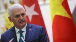 FILE PHOTO. Prime Minister of Turkey Binali Yildirim speaks at a press briefing. EPA/LUONG THAI LINH