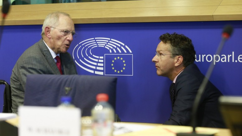 FILE PHOTO. German Finance Minister Wolfgang Schaeuble (L) and Dutch Finance Minister and President of Eurogroup Jeroen Dijsselbloem (R) speak to each other. EPA/OLIVIER HOSLET