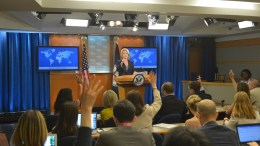 Spokesperson Heather Nauert addresses reporters at the Department Press Briefing, at the U.S. Department of State in Washington, D.C. Photo via State Department