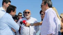 Ο υπουργός Ναυτιλίας και Νησιωτικής Πολιτικής Παναγιώτης Κουρουμπλής (2Α) , ο αναπληρωτής υπουργός Περιβάλλοντος Σωκράτης Φάμελλος (Δ) και ο υφυπουργός Ναυτιλίας και Νησιωτικής Πολιτικής Νεκτάριος Σαντορινιός (Α)   ΑΠΕ-ΜΠΕ, Παντελής Σαίτας