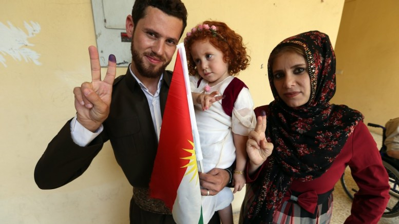 Iraqi Kurds show their fingers after voting at a polling station during Kurdistan independence referendum in Erbil, Kurdistan region in northern Iraq, 25 September 2017. The Kurdistan region is an autonomous region in northern Iraq since 1991, with an estimated population of 5.3 million people. The region shares borders with Turkey, Iran, and Syria, all of which have large Kurdish minorities. On 25 September, the Kurdistan region holds a referendum for independence and the creation of the state of Kurdistan amidst divided international support. EPA, MOHAMED MESSARA