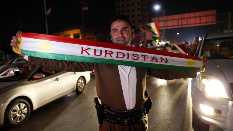Kurds celebrate to show their support for the independence referendum in in Erbil, Kurdistan region in northern Iraq, 25 September 2017. The Kurdistan region is an autonomous region in northern Iraq since 1991, with an estimated population of 5.3 million people. The region share borders with Turkey, Iran, and Syria, all of which have large Kurdish minorities. EPA, MOHAMED MESSARA