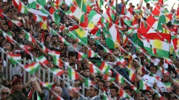 Kurds take part part in a rally for the Kurdistan independence referendum campaign at the Franso Hariri stadium in Erbil, Iraq, 22 September 2017. Kurdish leaders take the final chance to push for a yes-vote on independence referendum, despite growing regional and global pressure to call off the vote. The Kurdistan region is an autonomous region in northern Iraq since 1991, with an estimated population of 5.3 million people. The region share borders with Turkey, Iran, and Syria, all of which have large Kurdish minorities. On 25 September the Kurdistan region will hold a referendum for independence. EPA, GAILAN HAJI